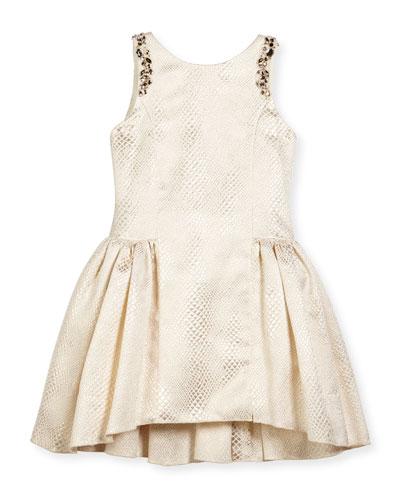 Sleeveless Embossed Metallic A-Line Dress, Gold, Size 7-16