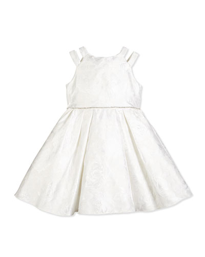 Sleeveless Floral Brocade Special Occasion Dress, Ivory, Size 2-6