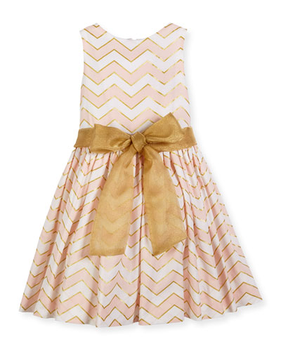 Sleeveless Metallic-Trim Poplin Chevron Dress, Pink, Size 2-6