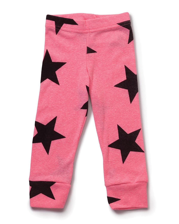 Slub-Jersey Star-Print Leggings, Pink, Size 6/7-8/9