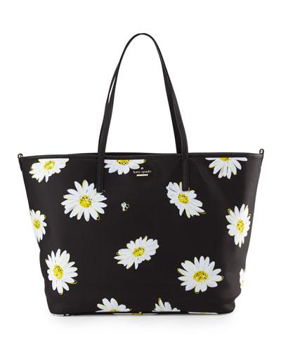 harmony floral nylon baby bag, black/daisies