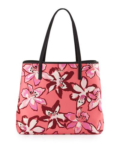 harmony floral nylon baby bag, surprise coral/multi