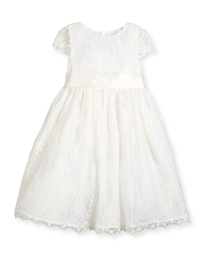 Cap-Sleeve Lace A-Line Dress, White, Size 7-10