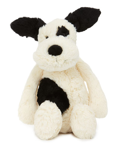 Jellycat Medium Bashful Puppy Stuffed Animal, Black / white