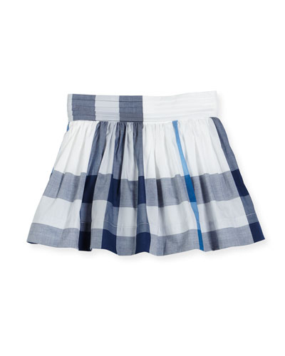 Hayley Smocked Check Mini Skirt, Blue, Size 4-14