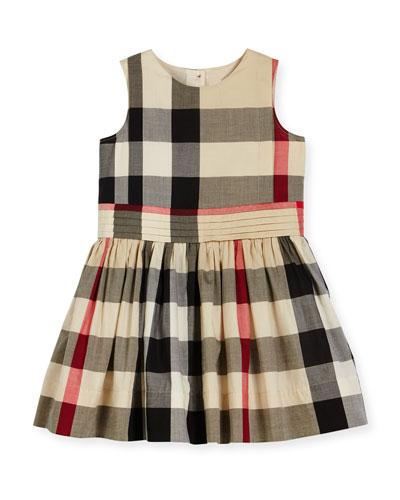 Alenna Sleeveless Smocked Check Dress, New Classic, Size 4-14