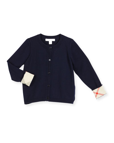 Rheta Check-Cuff Cotton Cardigan, Navy, Size 4-14