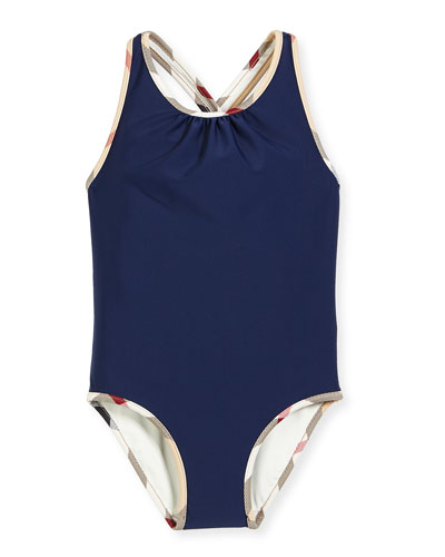 Beadnell CheckTrim OnePiece Swimsuit Navy Size 414