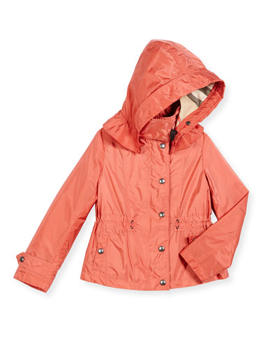 Marylesdale Hooded Snap-Front Jacket, Bright Copper Pink, Size 4-14