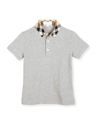 William Check-Collar Pique Polo Shirt, Pale Gray Melange, Size 4-14