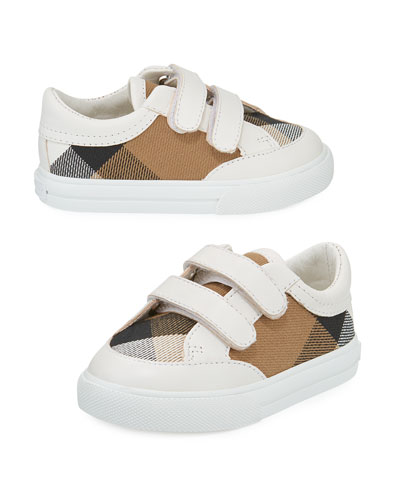 Heacham Check Canvas Sneaker, White/Tan,  Newborn