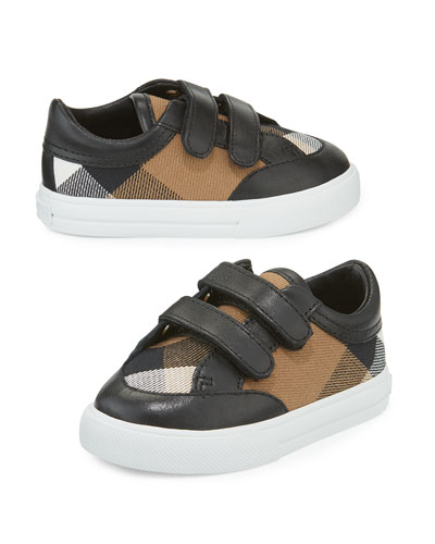 Heacham Check Canvas Sneaker, Black/Tan, Infant