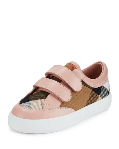 Heacham Check Canvas Sneaker, Peony Rose/Tan, Toddler Sizes 7-10
