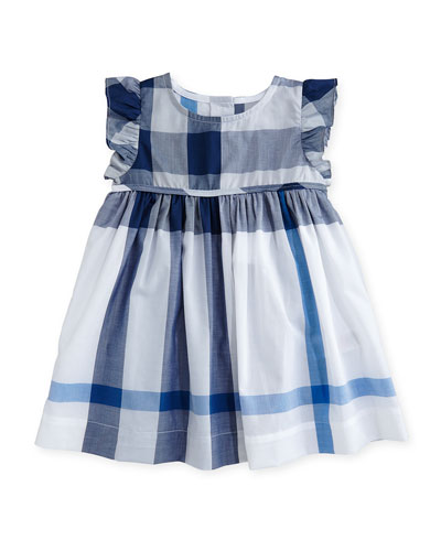 Mini Amanda Sleeveless Check Dress, Ink Blue, Size 6M-3