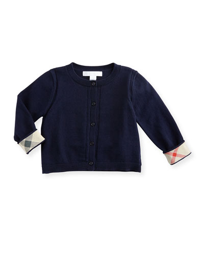 Rheta Cotton Button-Front Cardigan, Navy, Size 6M-3