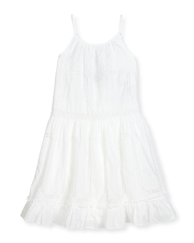 Sleeveless Tiered Lace-Trim Batiste Maxi Dress, White, Size 2-6X