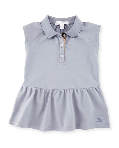 Mini Cali Smocked Raglan Polo Dress, Lupin Blue, Size 6M-3