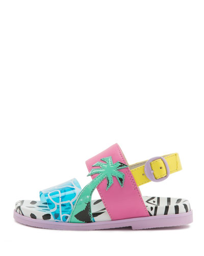 Becky Malibu Mini Sandal, Aqua, Toddler/Youth Sizes 5T-2Y