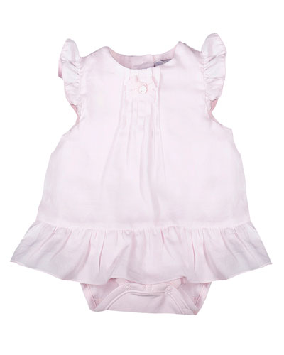 Sleeveless Pintucked Play Dress, Pink, Size 3-9 Months