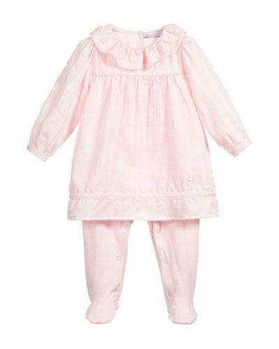 Long-Sleeve Poplin Dress w/ Leggings, Pink, Size 3-9 Months