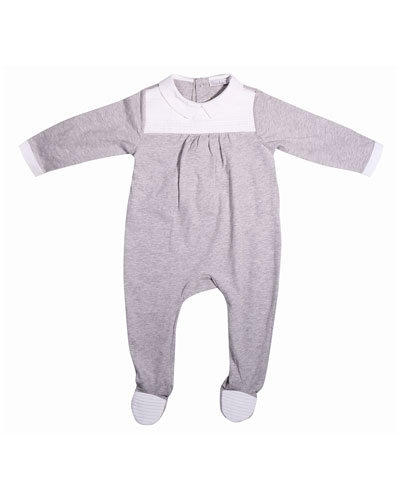 Collared Pintucked Footie Pajamas, Gray, Size 3-9 Months