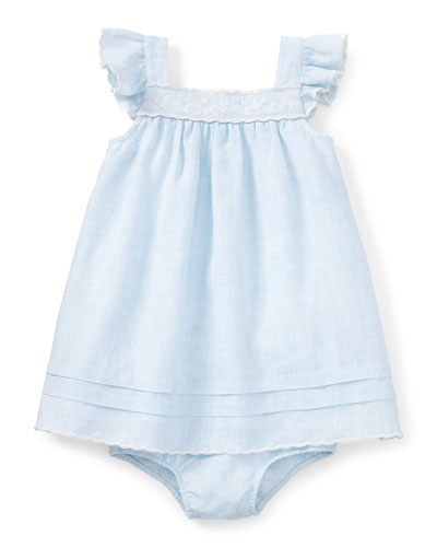 Sleeveless Heathered Linen Shift Dress w/ Bloomers, Blue, Size 9-24 Months