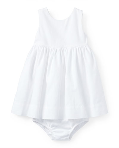 Sleeveless Cotton Pique Dress w/ Bloomers, White, Size 9-24 Months