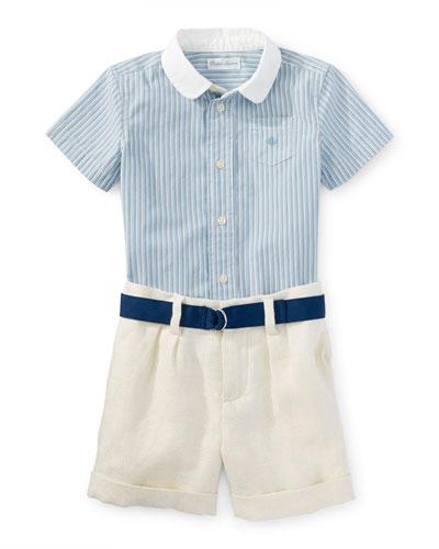 Short-Sleeve Shirt w/ Linen Shorts & Belt, Blue, Size 9-24 Months