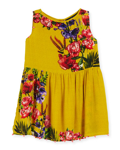 Silk Crepe Bead-Trim Dress, Yellow, Size 8-12