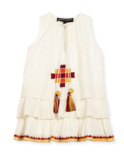 Sleeveless Embroidered Metallic-Stripe Dress, White, Size 4-6
