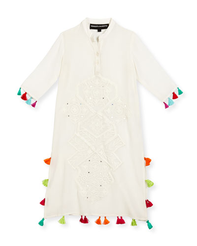 Long Embroidered Silk Tassel-Trim Dress, White, Size 8-12
