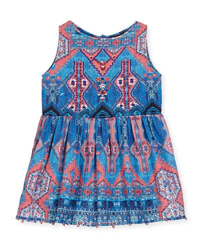 Sleeveless Multipattern Cotton Dress, Blue/Pink, Size 8-12
