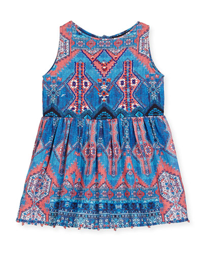 Sleeveless Multipattern Cotton Dress, Blue/Pink, Size 4-6