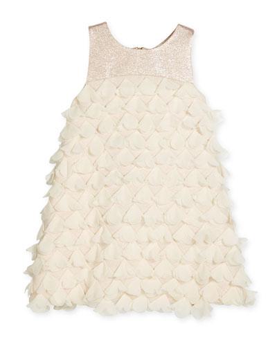 Sleeveless Metallic-Trim 3D Petal Shift Dress, Blush, Size 7-16