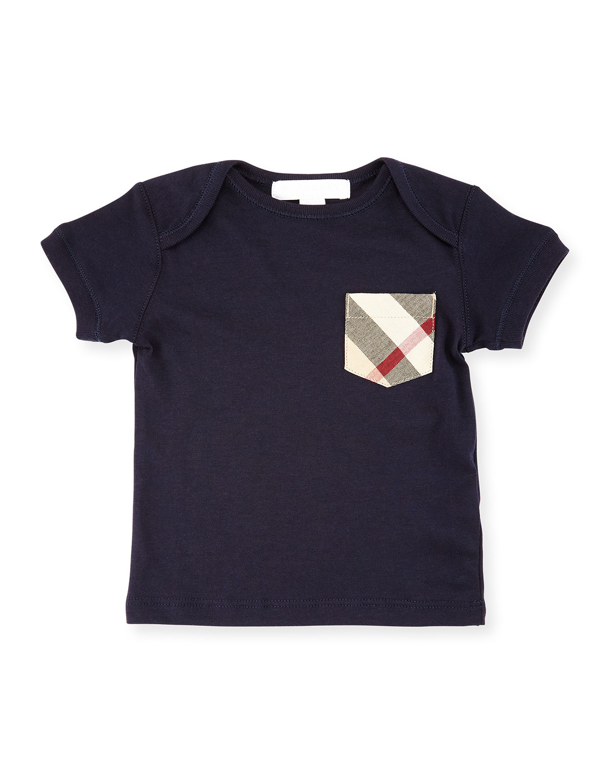 Callum Check-Pocket Jersey Tee, True Navy, Size 6M-3