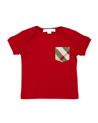 Callum Check-Pocket Jersey Tee, Military Red, Size 6M-3