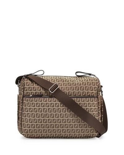 Leather-Trim Logo Diaper Bag, Brown