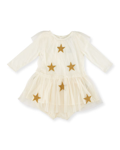 Misty Star-Patch Tulle Dress w/ Bloomers, Cream, Size 9-24 Months
