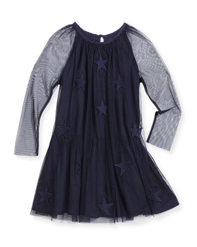 Misty Tulle Star-Patch Dress, Navy, Size 4-14