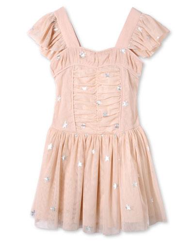 Jojo Sleeveless Star-Print Tulle Dress, Pink, Size 4-14