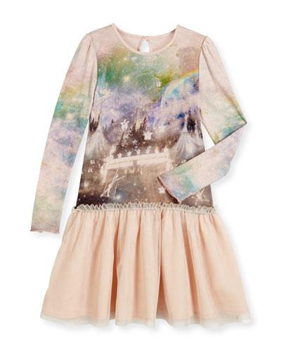 Primrose Long-Sleeve Circus-Print Combo Dress, Pink, Size 4-14
