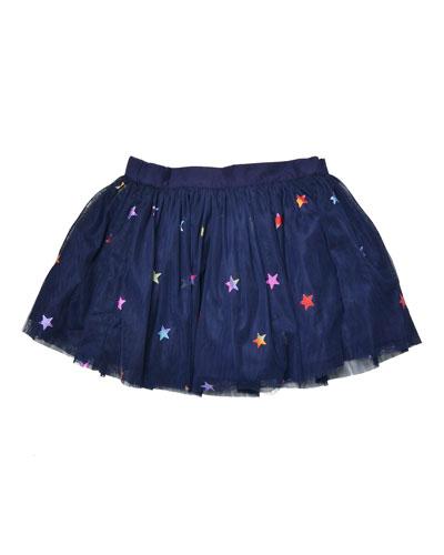 Honey Star-Print Smocked Tulle Skirt, Blue, Size 8-14