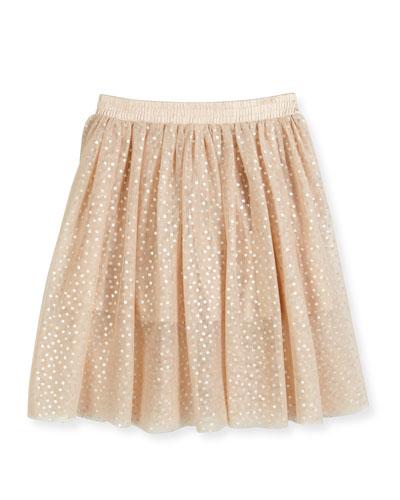 Amalie Polka-Dot Skirt, Peony, Size 8-14