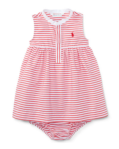Sleeveless Striped Henley Shirtdress w/ Bloomers, Red/White, Size 9-24 Months