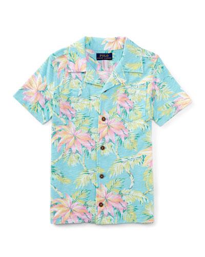 Printed Slub Jersey Polo Shirt, Faded Palm, Size 2T-4T