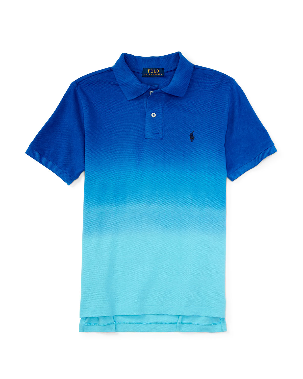 Dip-Dyed Basic Mesh Polo Shirt, Pacific Royal, Size 5-7