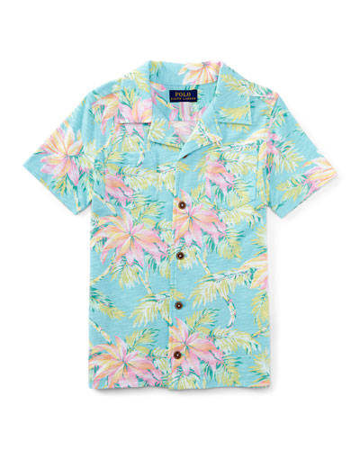 Printed Slub Jersey Polo Shirt, Faded Palm, Size 5-7