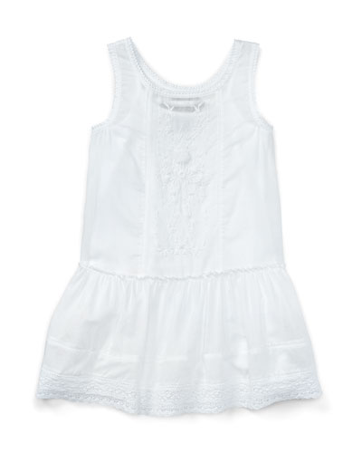 Smocked Embroidered Cotton Voile Dress, White, Size 2T-4T