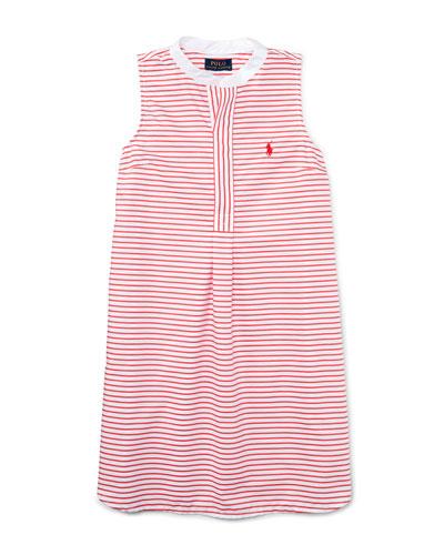 Sleeveless Striped Henley Shirtdress, Red/White, Size 5-6X