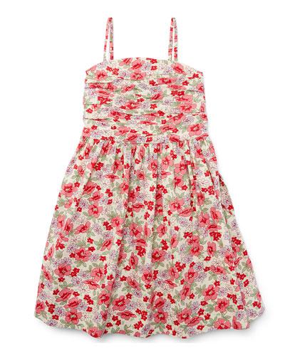 Sleeveless Floral Button-Back Sundress, Pink, Size 5-6X